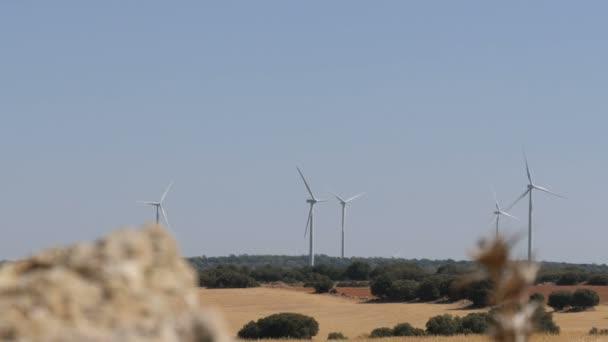 Tecnologia verde, una soluzione di energia pulita e rinnovabile, bellissimo mulino a vento turbine sfruttare energia eolica pulita, verde, nei campi spagnoli. Tecnologia di alimentazione del mulino a vento