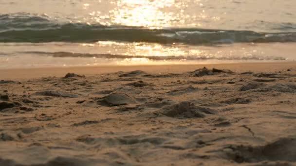 Naplemente sun Beach és a tenger hullámok