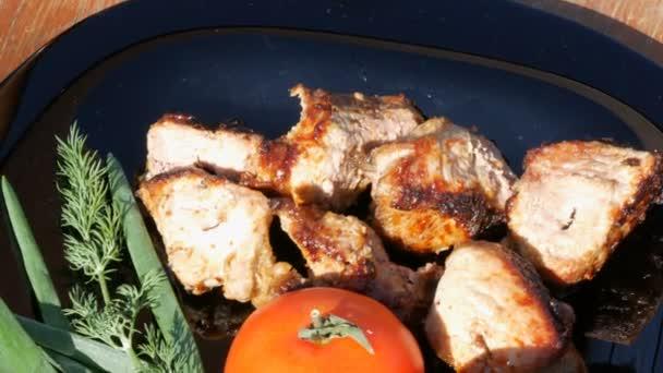 Krásně zdobené misky nakrájeného masa, bagetky opečení na ohni, rajčat a zelených. Grilování masa nebo ražniči na černé misky na venkově v přírodě