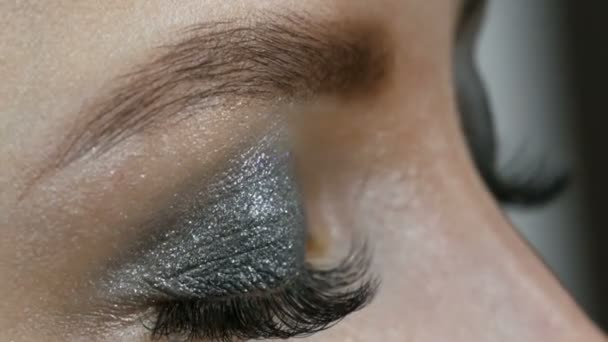 Professional makeup high fashion. The girl model draws eyebrows with a special eyebrow brush. Fashionable smoky eyes.