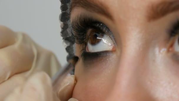 Model with brown eyes applying eyeliner closeup. Professional make up artist applying black eyeliner. Long false eyelashes
