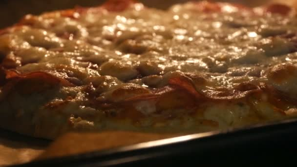 Chutný italský pizza salám a sýr pečené v troubě zblízka pohled