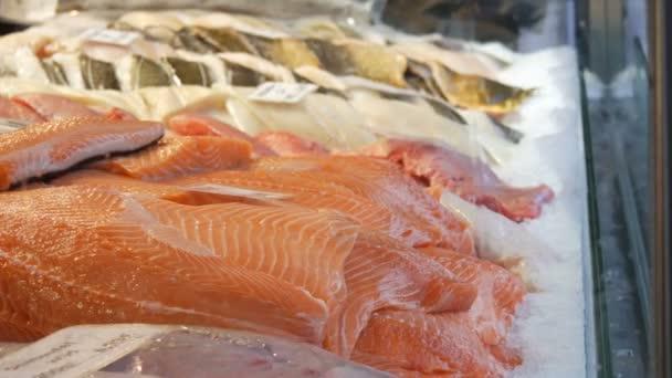 A halbolt bemutatója. Hatalmas darab vörös hal jégben. Lazacfilé és egyéb eladásra szánt tengeri hal