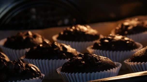 Lahodné čokoládové muffiny se vaří v troubě. Čokoládové muffiny v papírových formách posypané čokoládovým práškem ve formě kostek