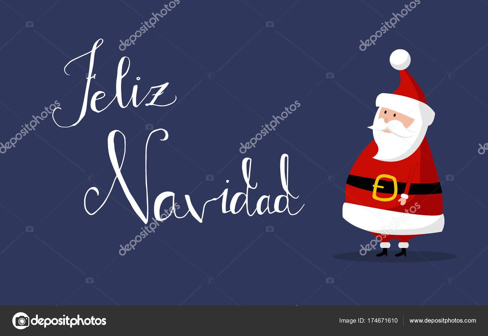 Babbo Natale In Spagnolo.Vettore Feliz Navidad Con Babbo Natale Base Ai Vettori