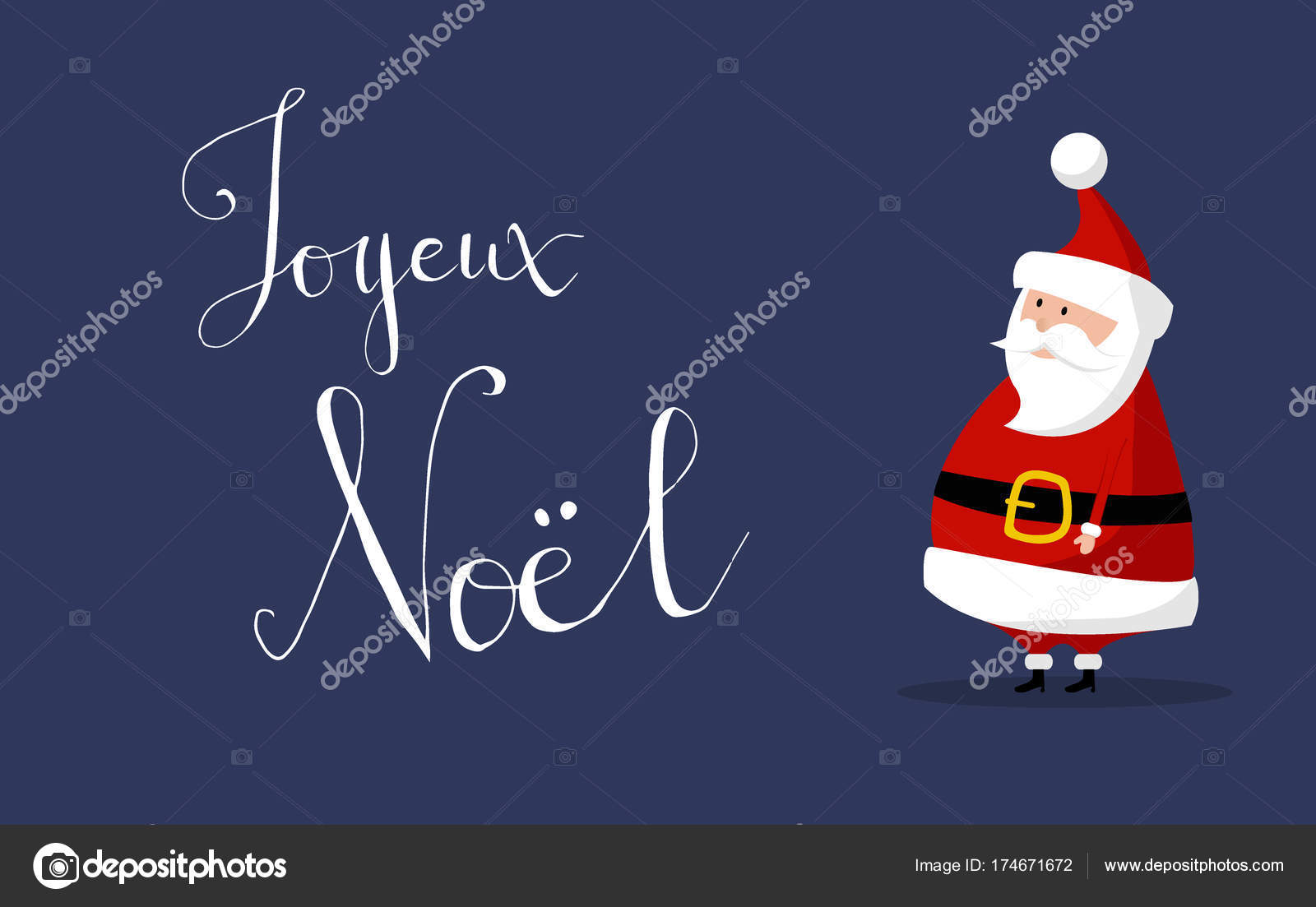 basic santa claus vector with merry christmas wishes as joyeux noel in french language on the right classic santa in red suit good for flyer card - How To Say Merry Christmas In French