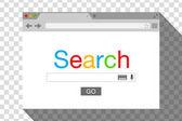 Okno prohlížeče ploché styl na průhledném pozadí. Vyhledávací stroj. Skladem ilustrace vektorové