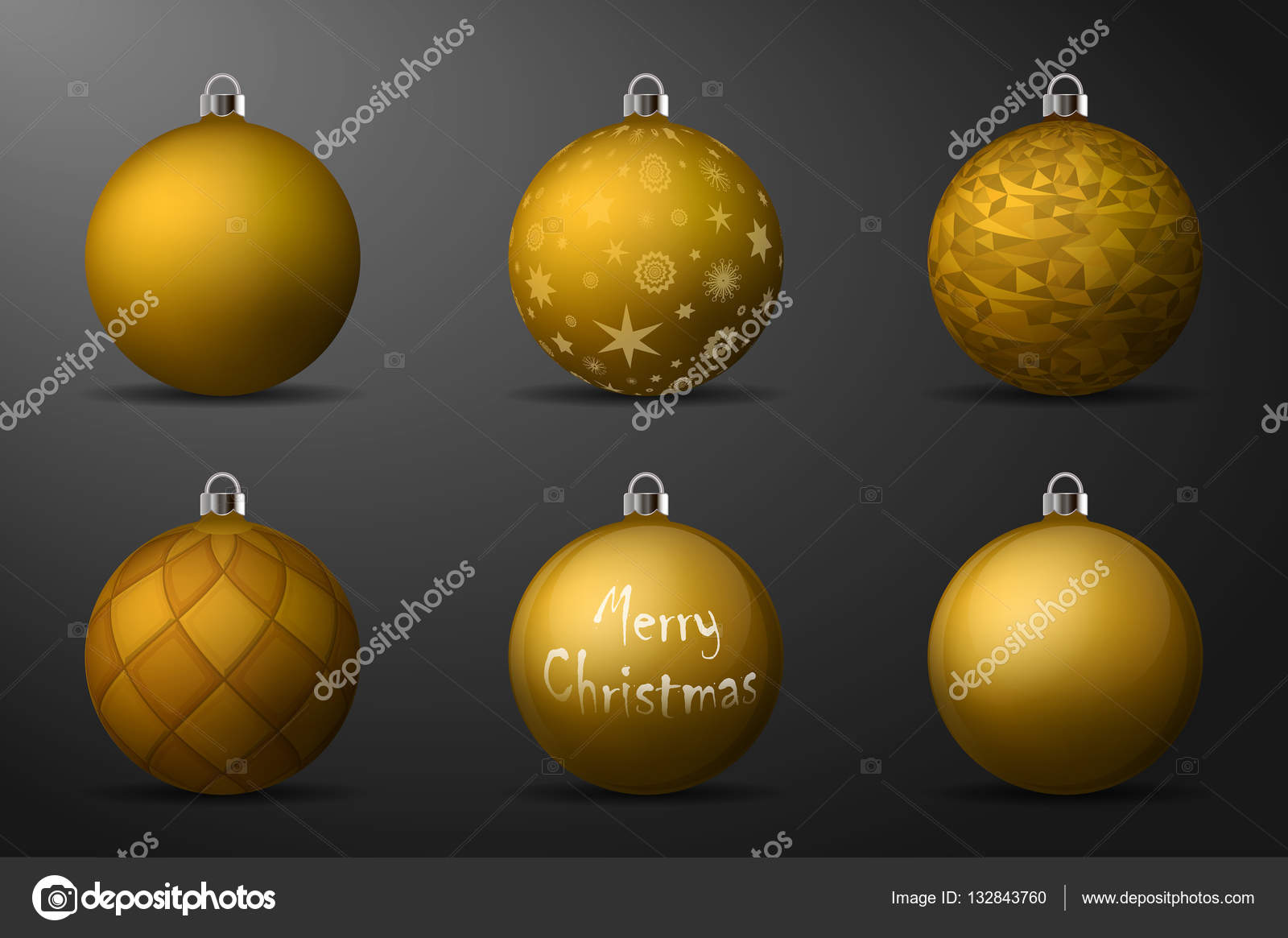 gold christmas balls with silver holders set of isolated realistic decorations on black background - Black And Gold Christmas Ornaments