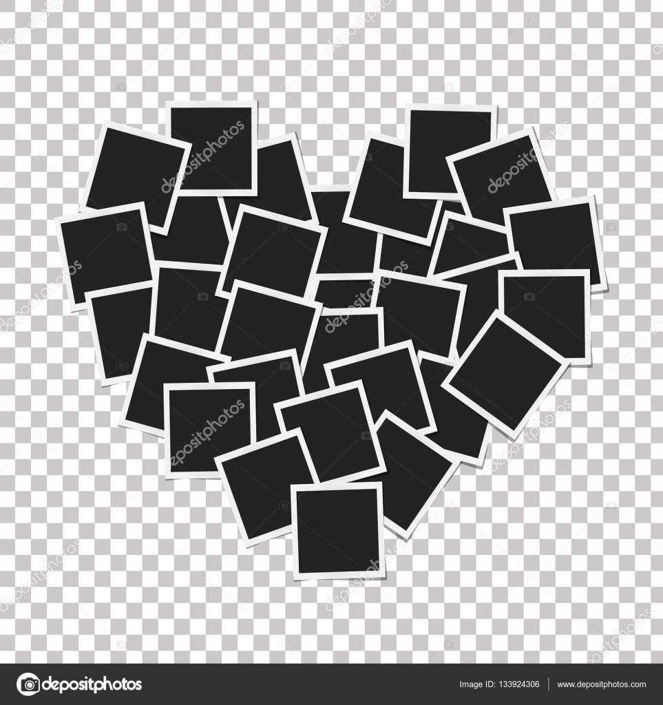 Herz-Konzept mit Bilderrahmen isoliert gemacht. Erinnerungen, Karte ...