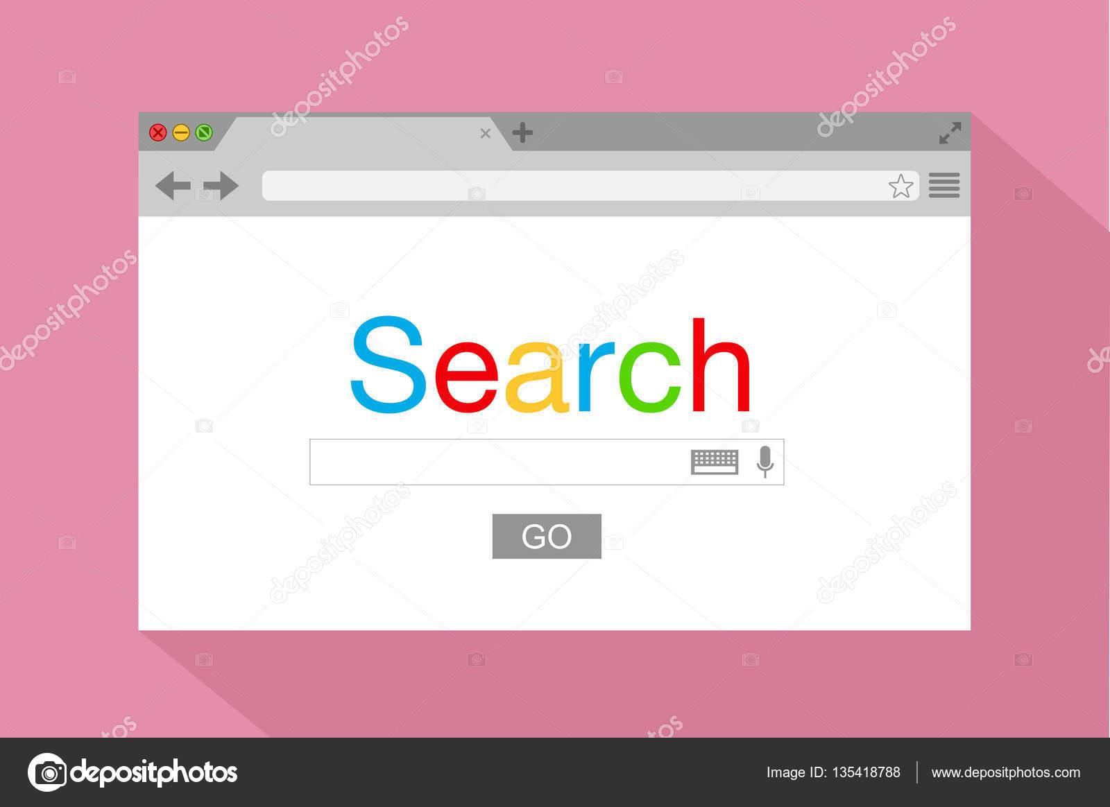 ピンクの背景のフラット スタイル ブラウザーのウィンドウ検索エンジン