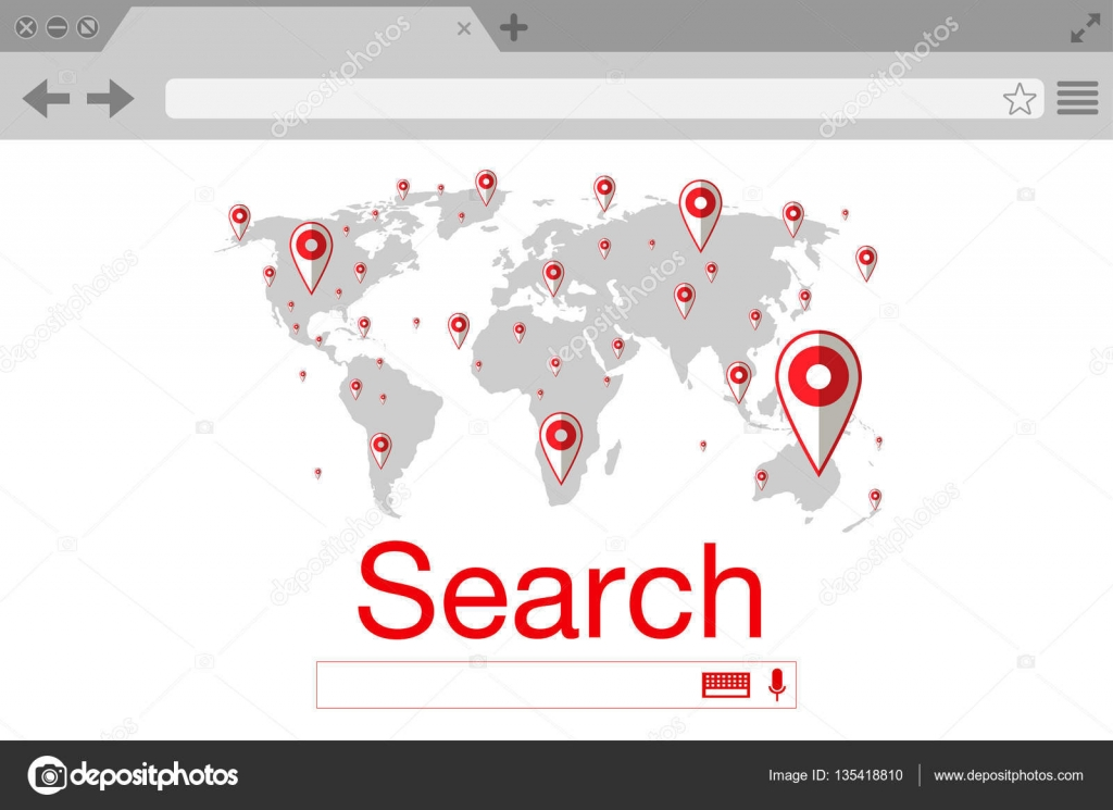 térkép kereső Lapos stílusú böngésző kereső. Világ Térkép csapok. Vektor stock  térkép kereső