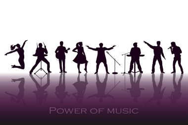 Power of music concept. Set of black silhouettes of musicians, singers and dancers. Vector illustration