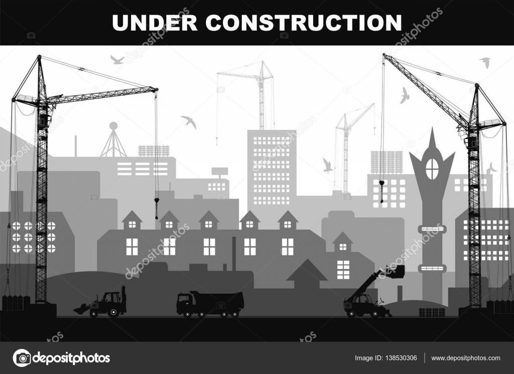 under construction concept at building site in the city with