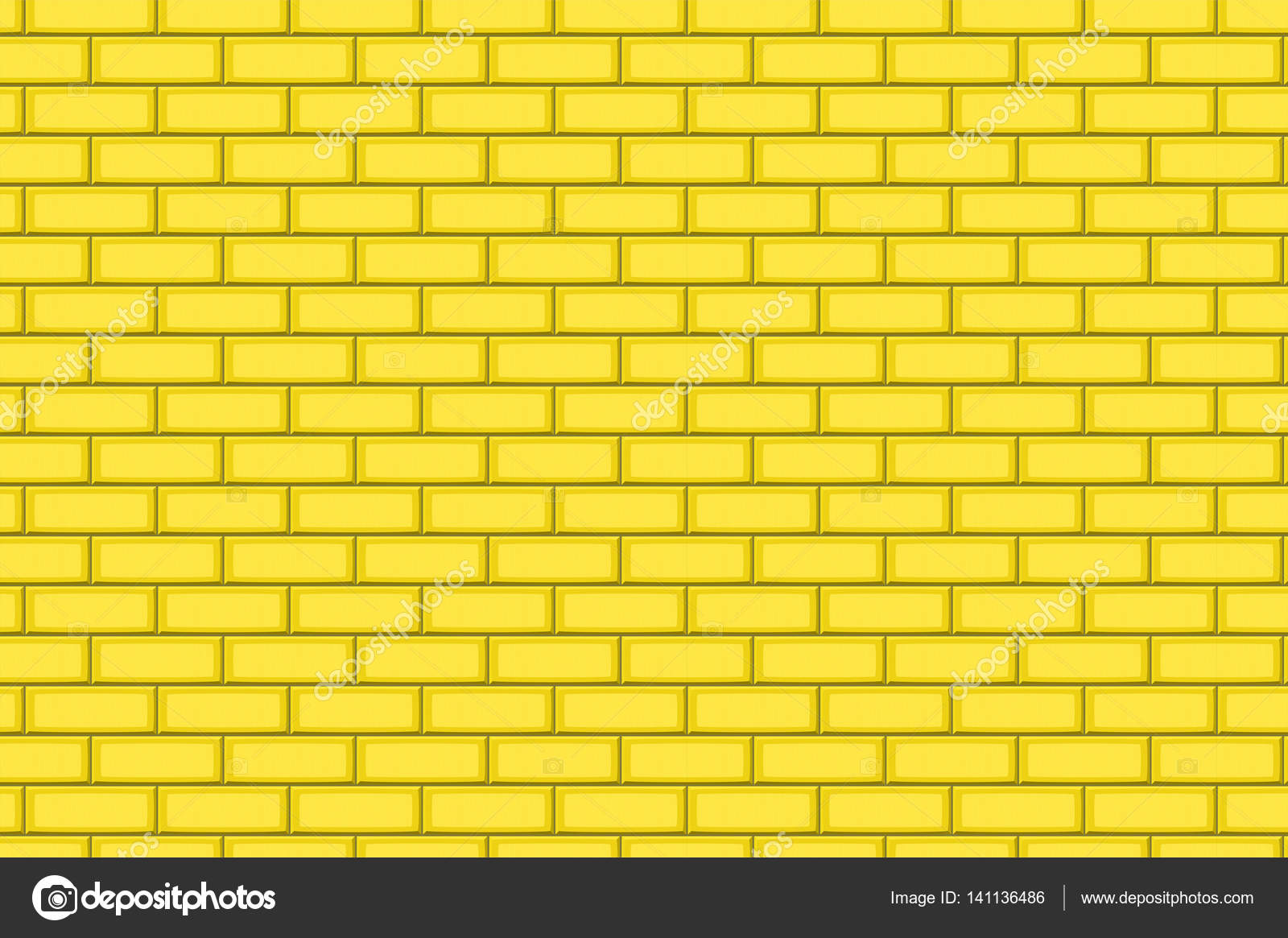 Cartoon hand drown golden realistic seamless brick wall
