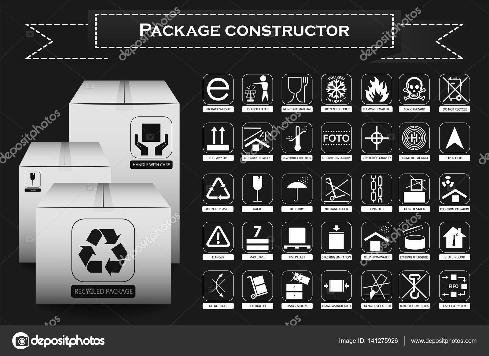 Packaging symbols icon set including waste recycling fragile packaging symbols icon set including waste recycling fragile flammable this side up handle with care keep dry and others photo by boxerx buycottarizona