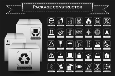Packaging symbols. Icon set including waste recycling, fragile, flammable, this side up, handle with care, keep dry and others