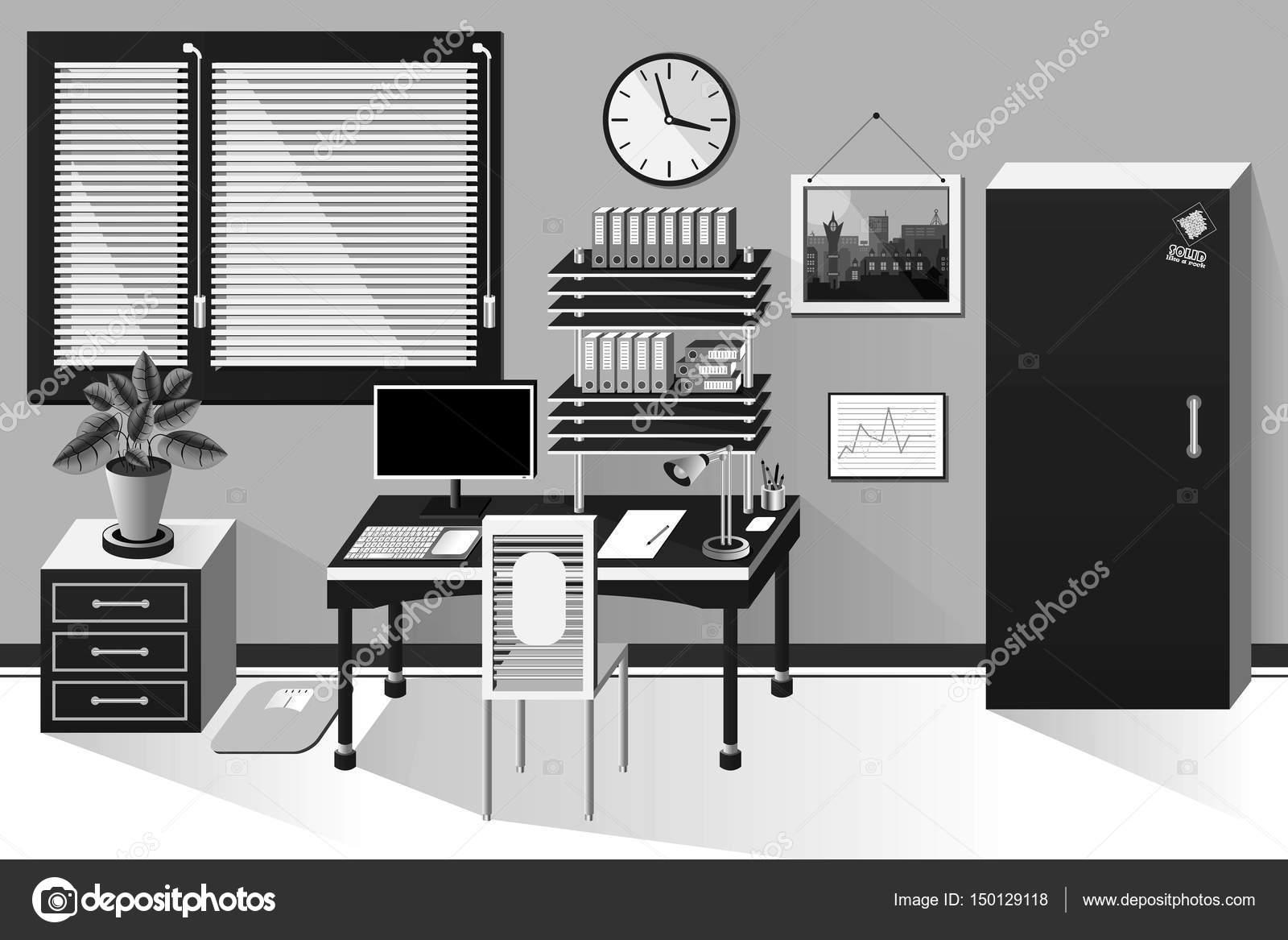 Salle de bureau intérieur en style classique noir et blanc