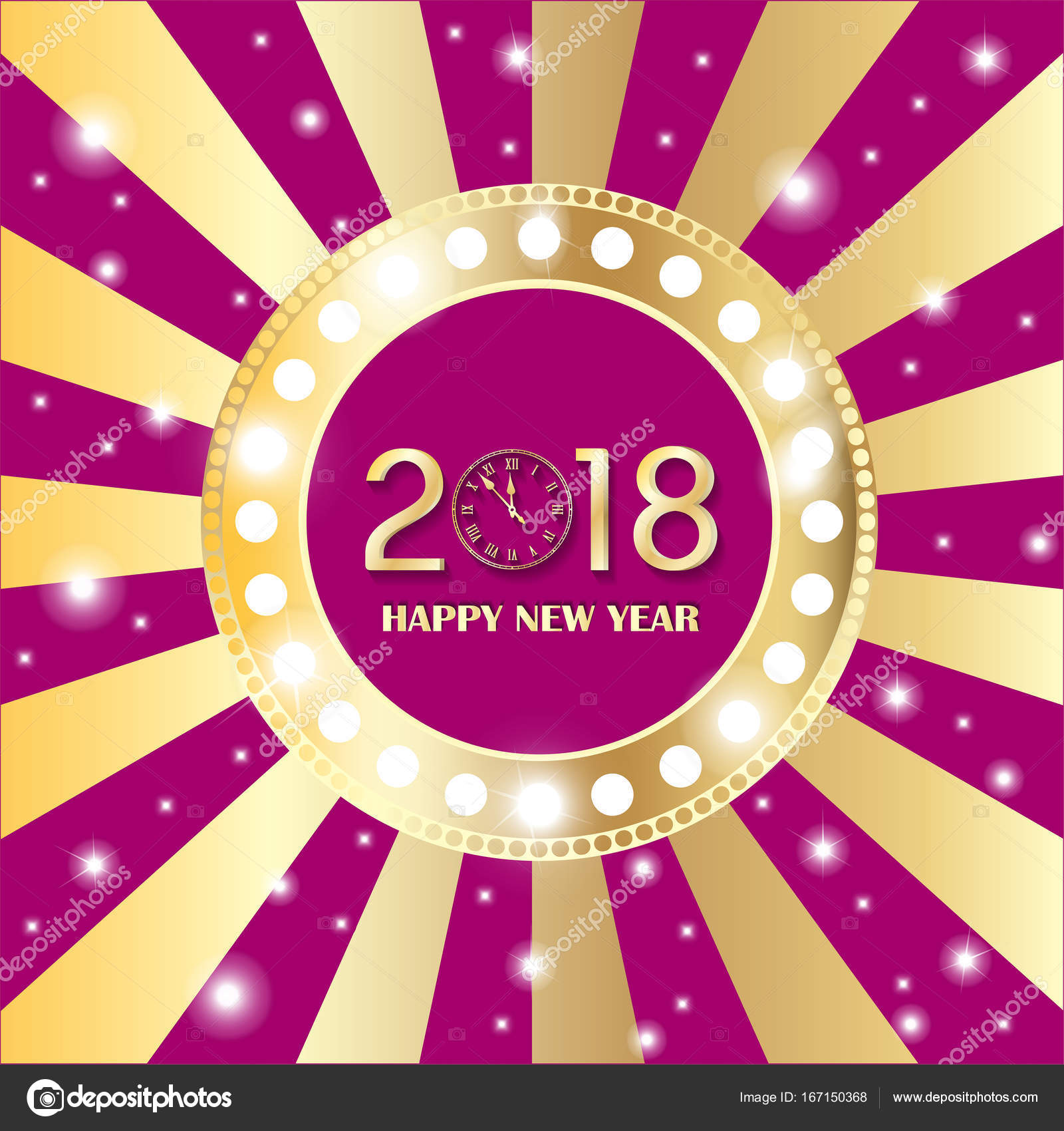 shining gold circle vintage banner with lights on retro pink and golden background new year