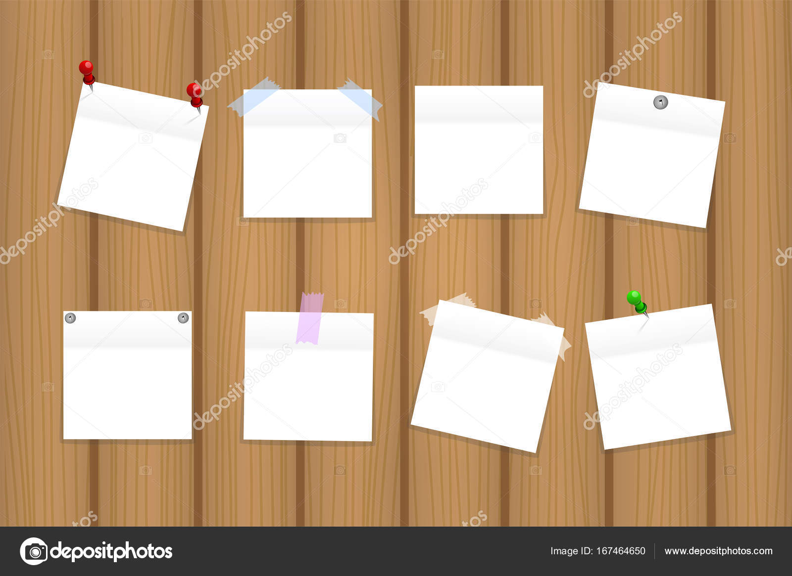 Pack of white empty office paper stickers on wooden board vector illustration stock vector