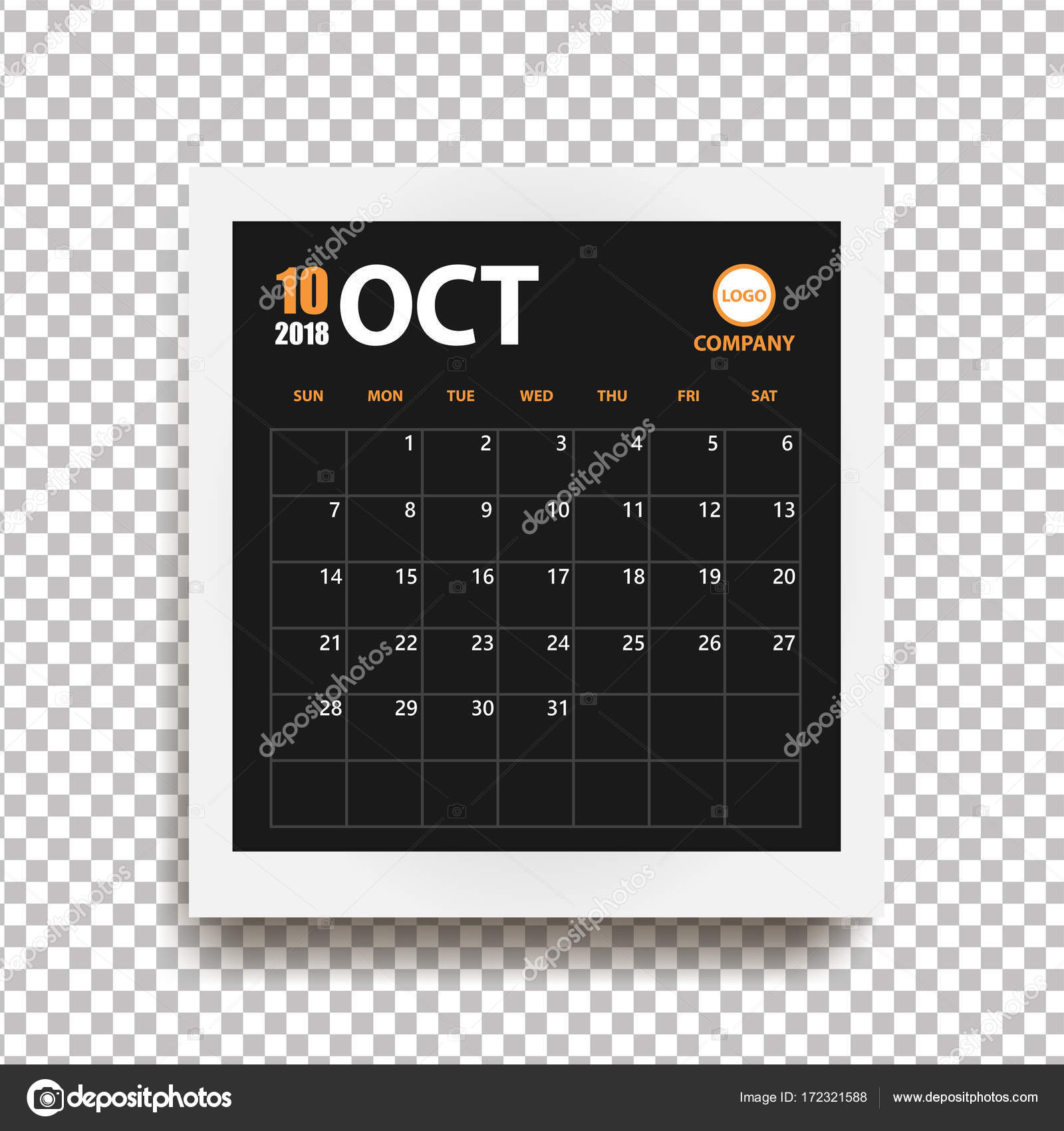 october 2018 calendar in realistic photo frame with shadow isolated on transparent background event planner