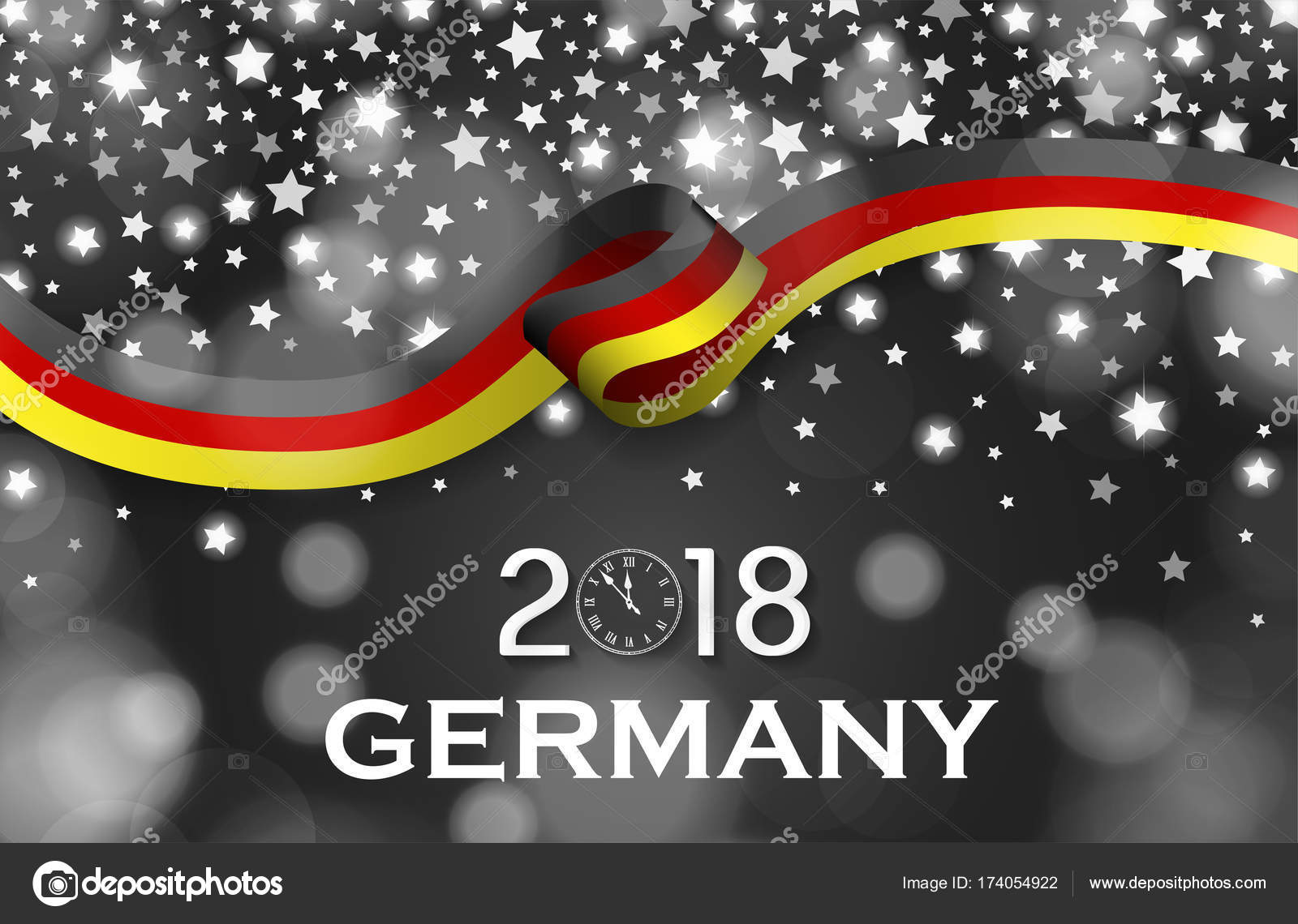germany new year 2018 national greeting card luxury style flag ribbon concept stock photo