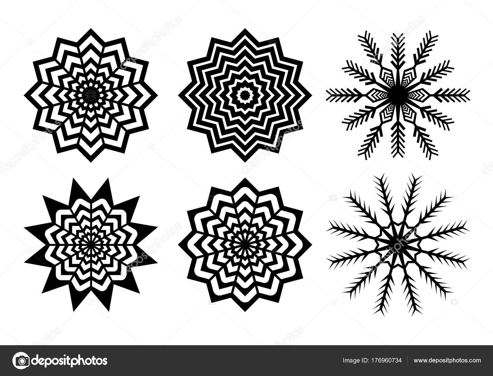 Black Paper Cuted Christmas Snowflakes Pack Isolated On White