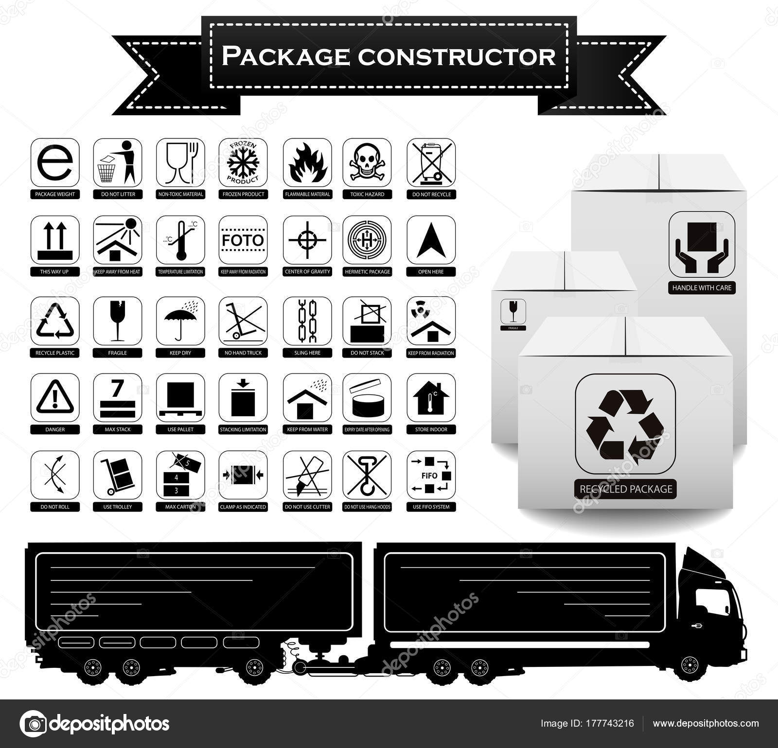Package constructor packaging symbols icon set including waste packaging symbols icon set including waste recycling fragile flammable this side up handle with care keep dry and others buycottarizona
