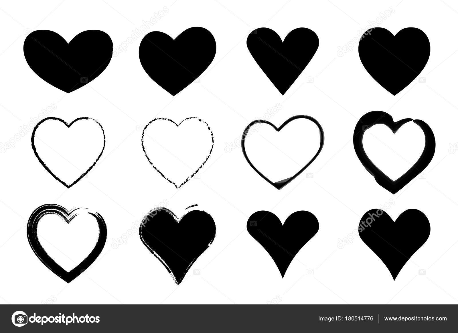 Black Hearts Set Valentines Day Icons Isolated On White Signs