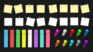 Mega pack of colored office paper stickers and metal pins with shadows isolated on black background. Reminder tag elements mock up. Vector illustration icon