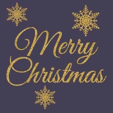 Vector illustration of gold merry Christmas