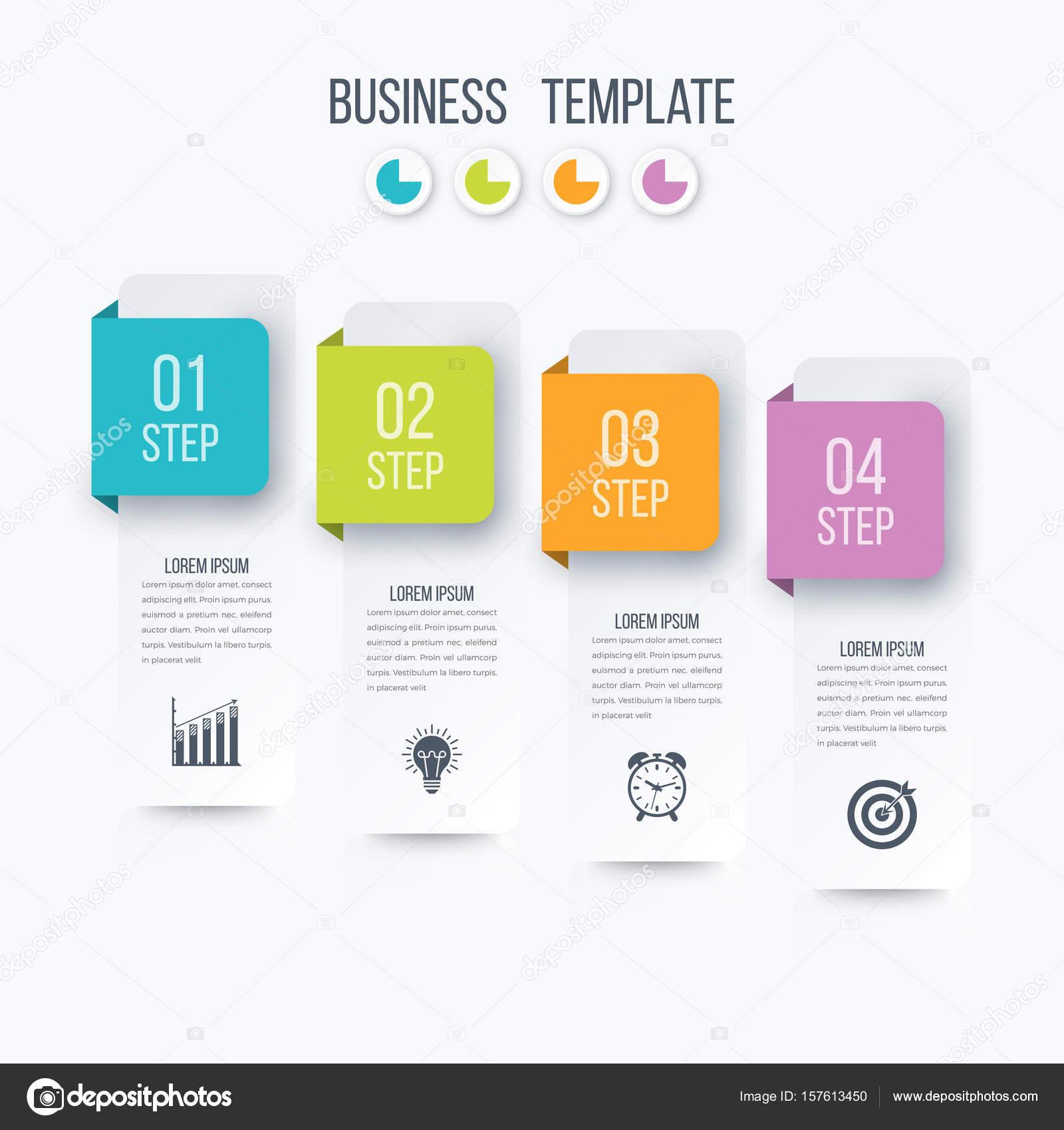 Geschäft Infografiken Vorlage 4 Schritte mit Quadrat — Stockvektor ...