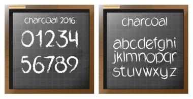 Digital vector charcoal hand drawn alphabet