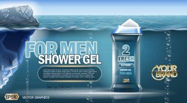 Digital vector blue shower gel for men mockup