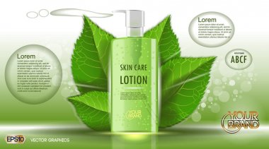 Digital vector green glass skin care lotion