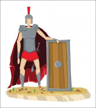 Digital vector tall roman legionnaire with armor