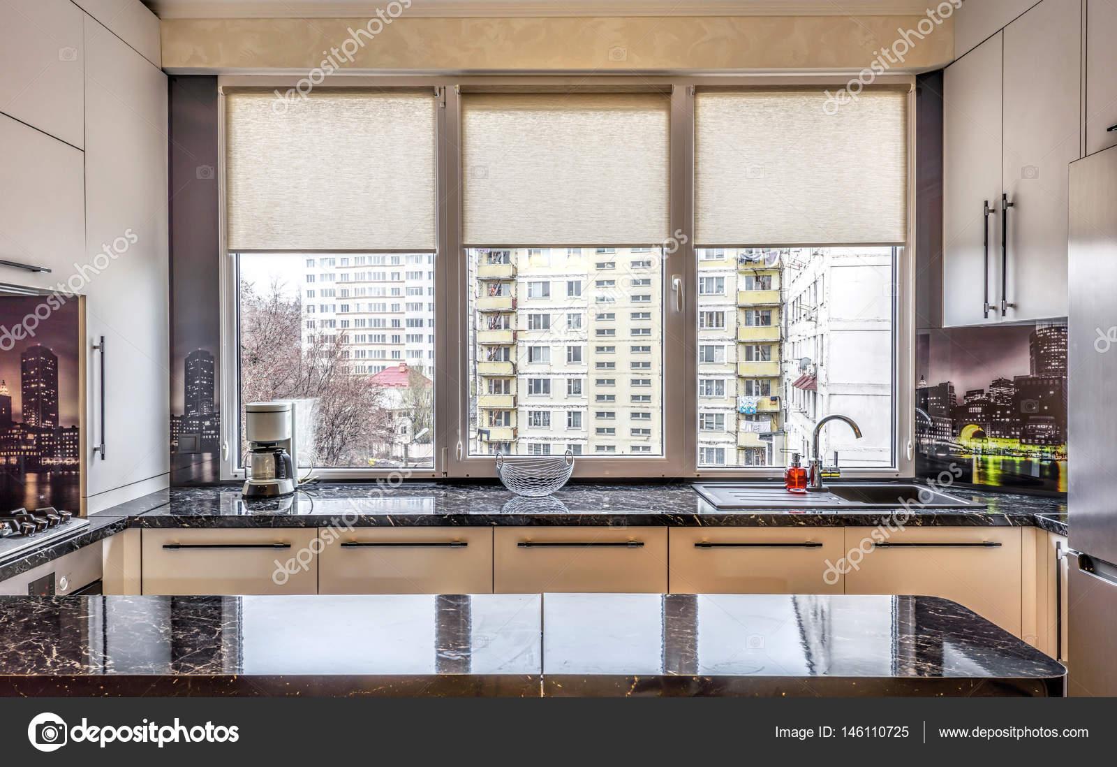 Cocina color negro moderna contemporánea — Fotos de Stock ...