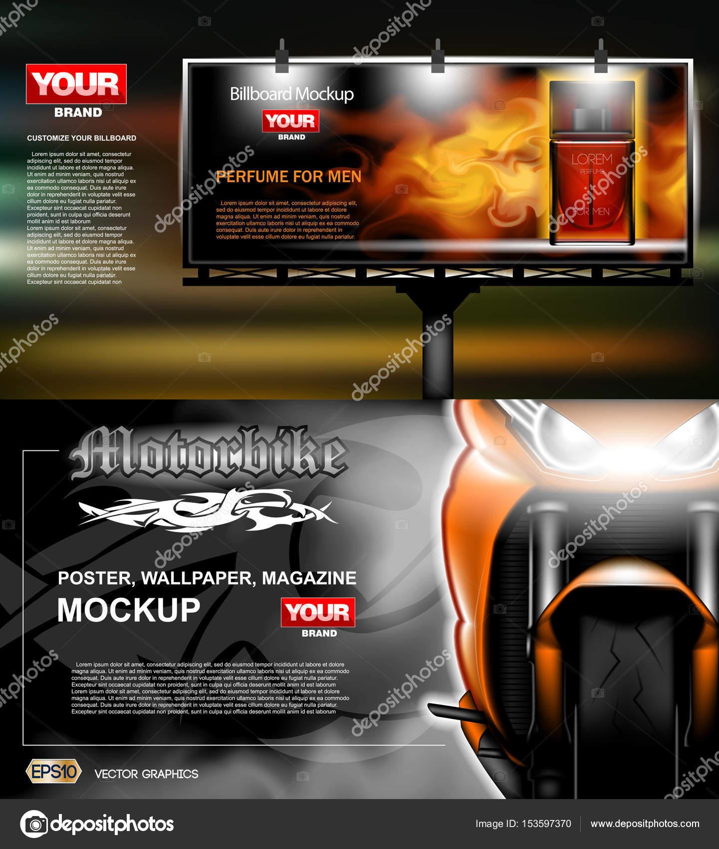 Digitale Vektor, Leuchtkasten, Werbung mit Parfüm — Stockvektor ...