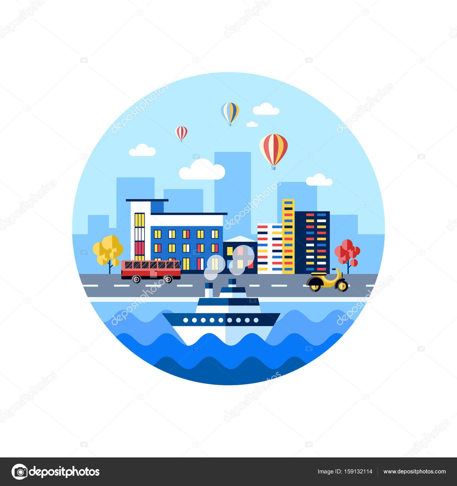 Iconos de transporte vector digital ciudad azul — Archivo Imágenes ...