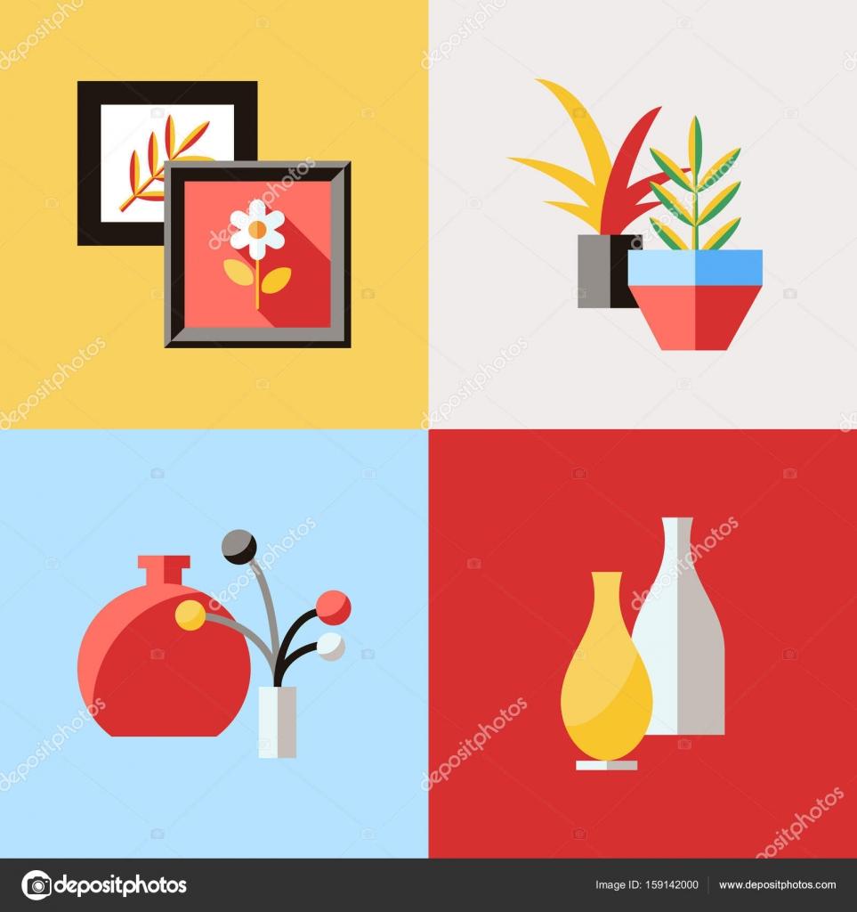Iconos De Vector Digital Muebles Rojo Vector De Stock  # Muebles Digitales