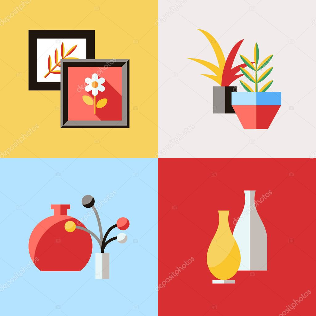 Digital vector red furniture icons