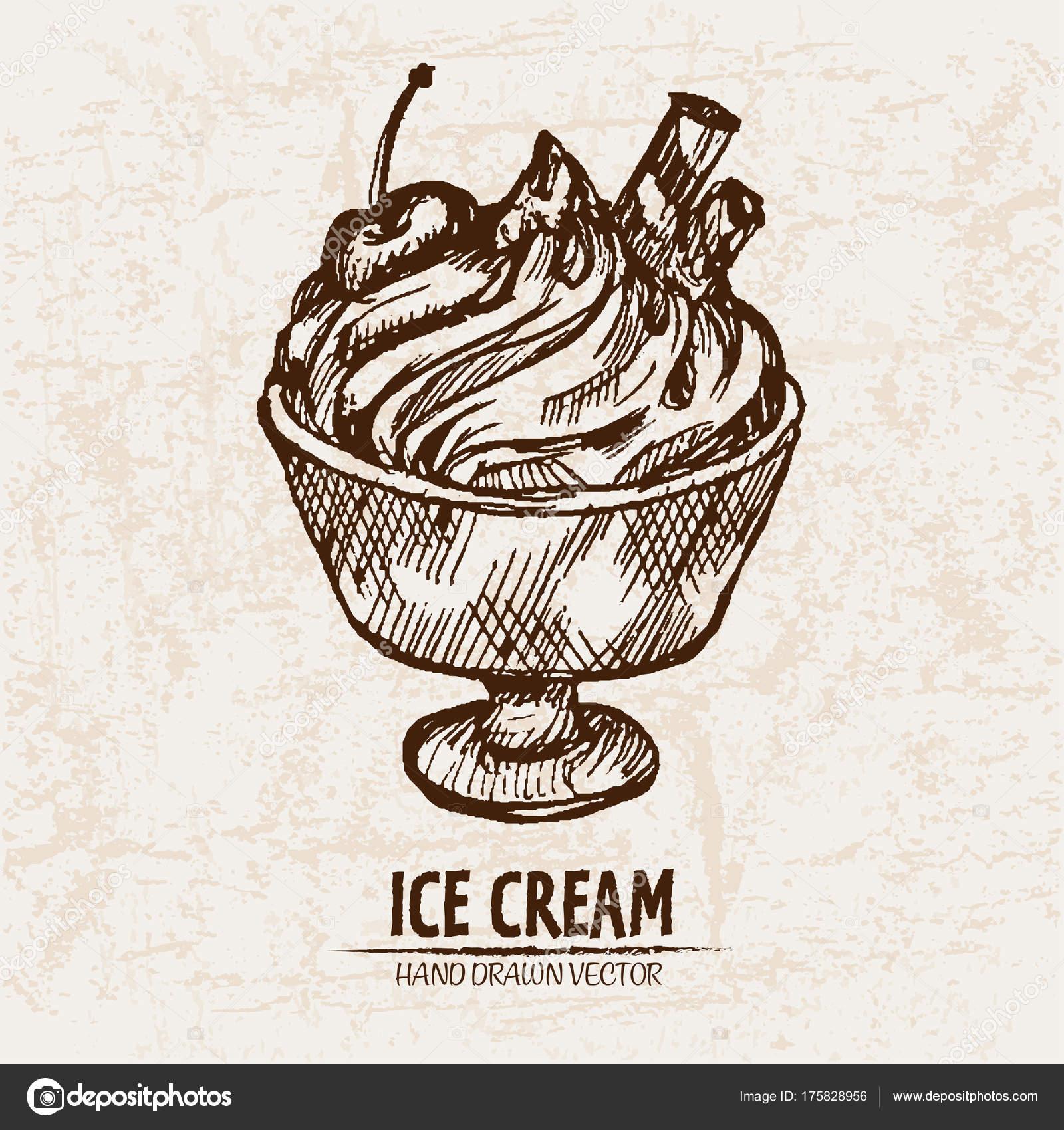 Vector digital detallada de hielo de helado línea arte — Vector de ...