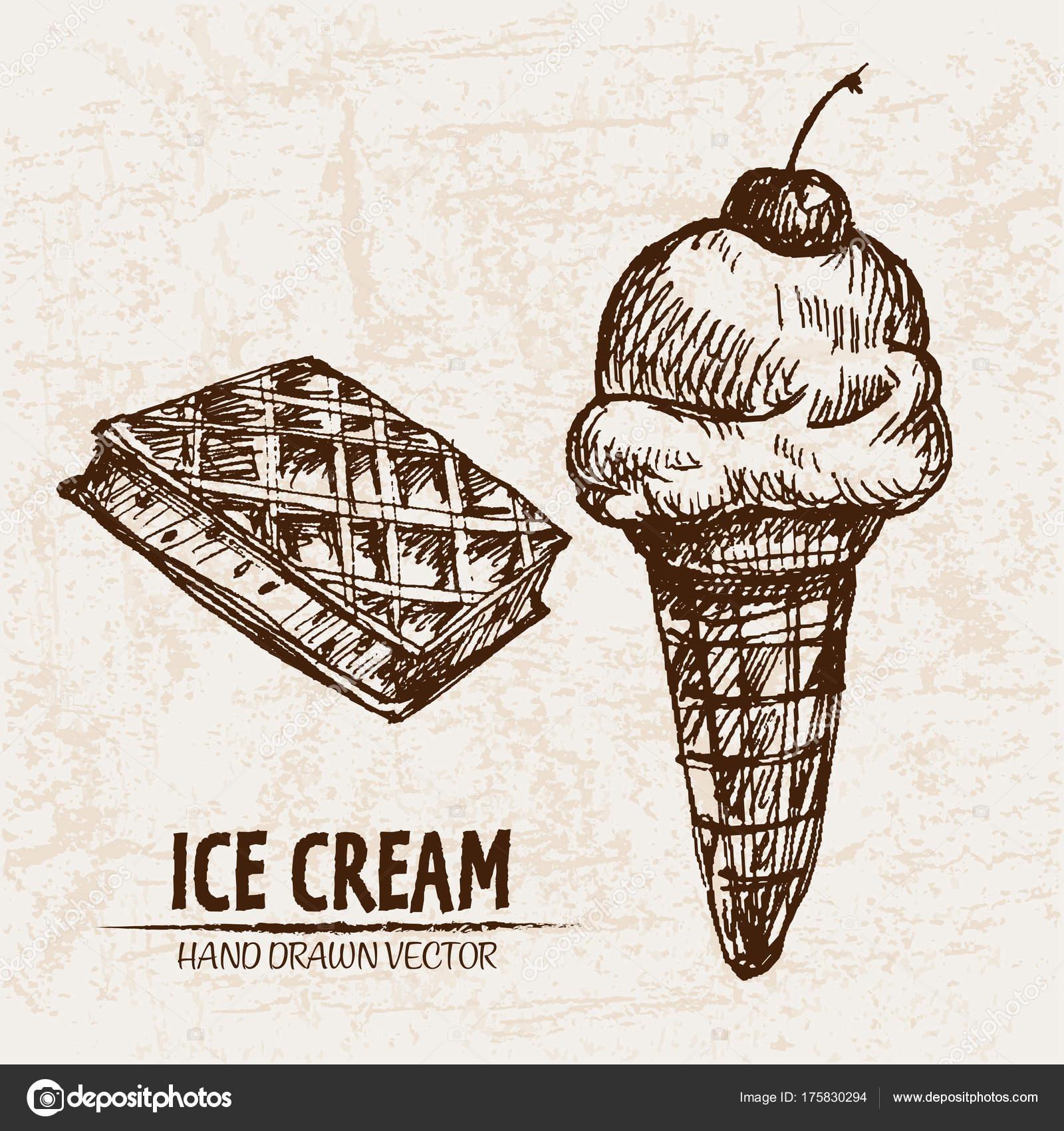 Vector digital detallada línea arte helado — Vector de stock ...