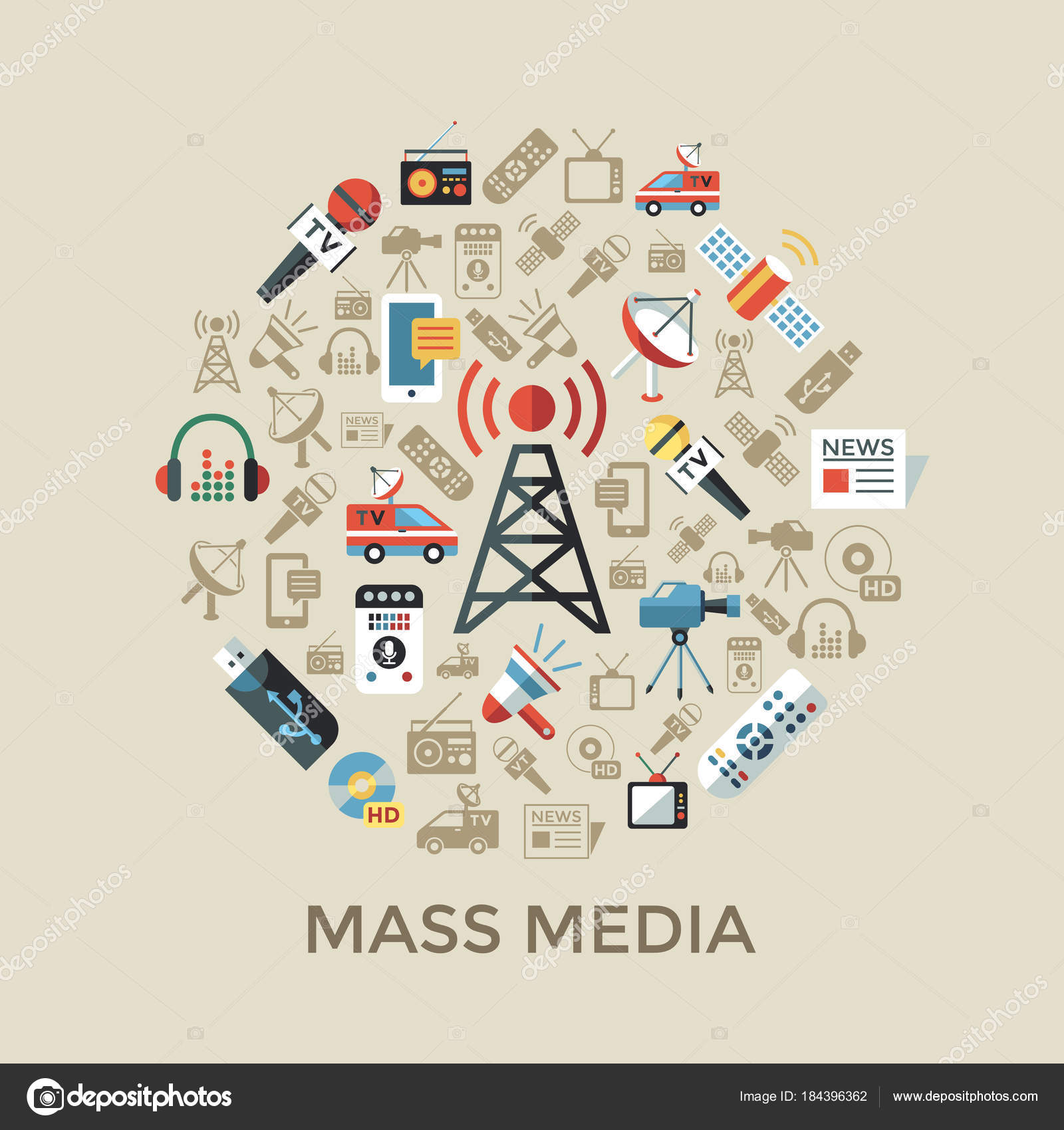 Digital mass media objects color simple flat — Stock Vector