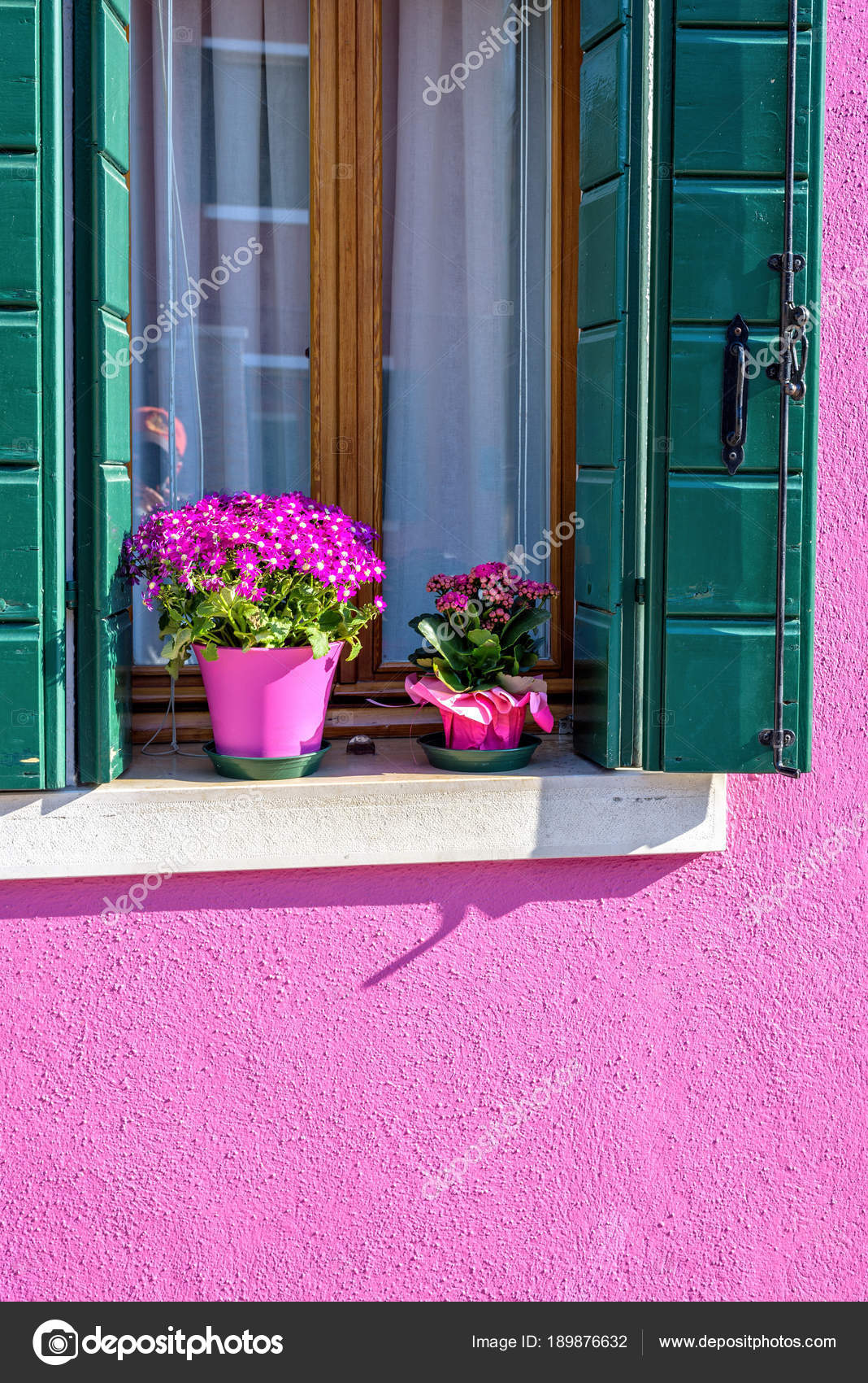 Daylight view to pink house facade with matching color flowers ...