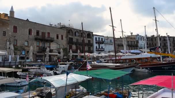 KYRENIA, CYPRUS - FEBRUARY 15, 2020: Boats at port and harbor of kyrenia, northern part of island