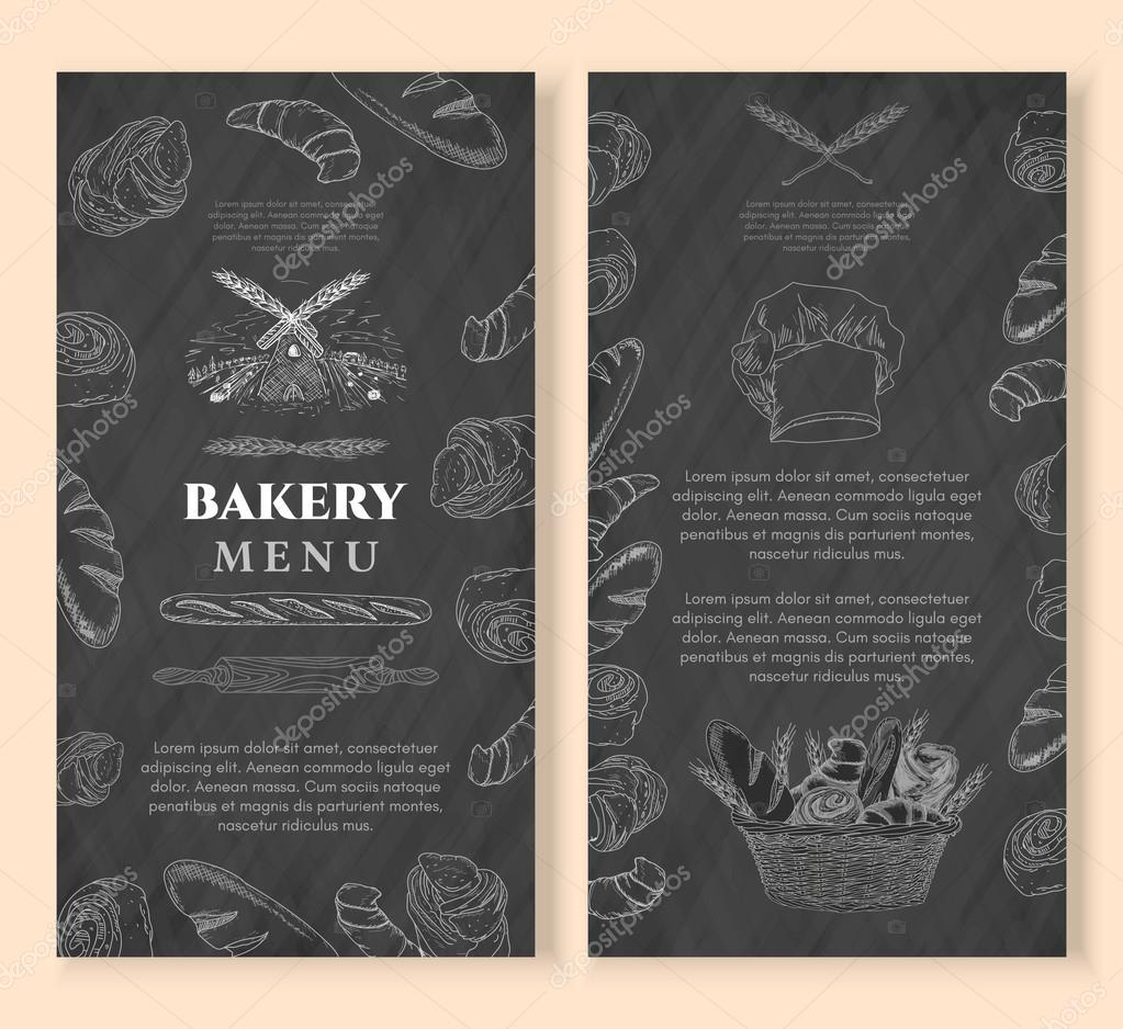 bakery design template chalkboard baking products stock vector