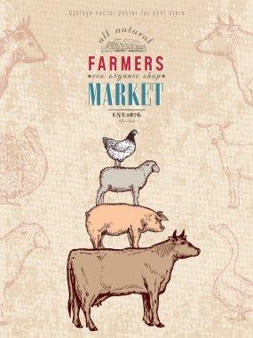 Farm shop vintage poster retro butcher shop farm animals livestock farming poster hand drawn ink vector stock vector