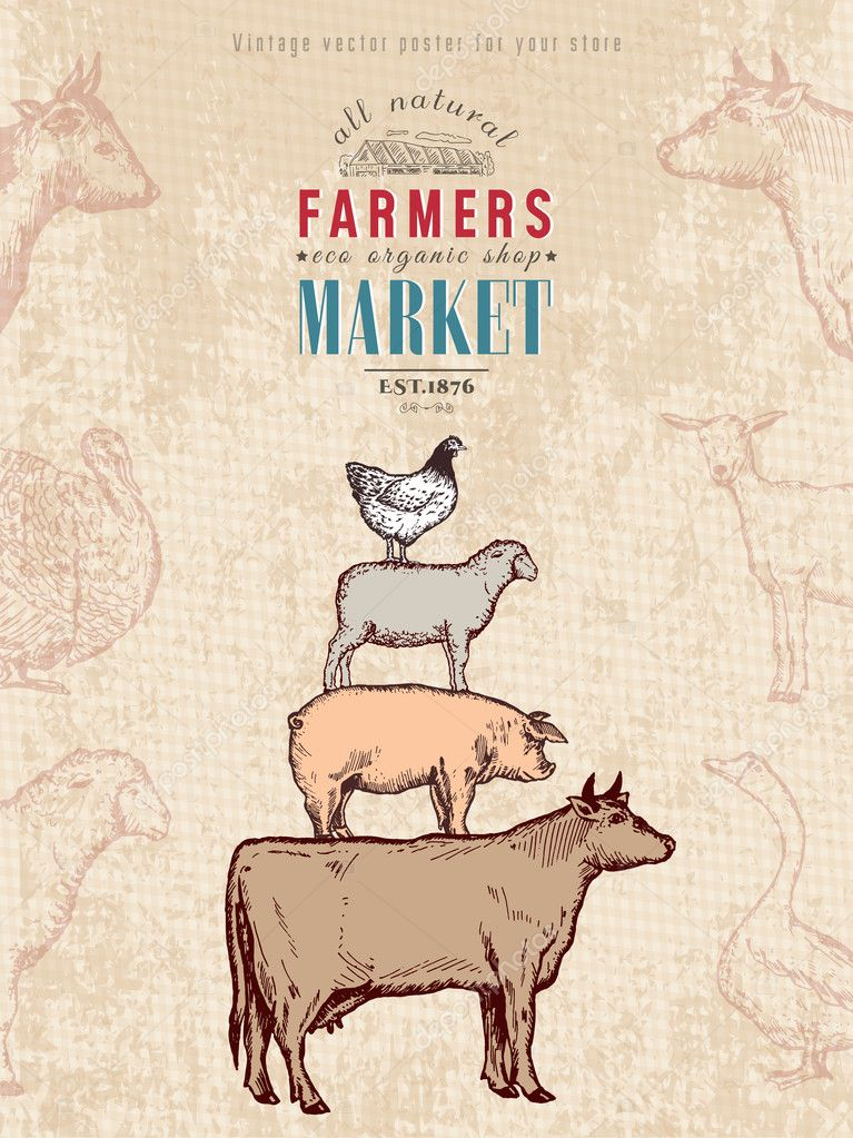 Farm Shop Vintage Poster Retro Animals Livestock Stock Vector