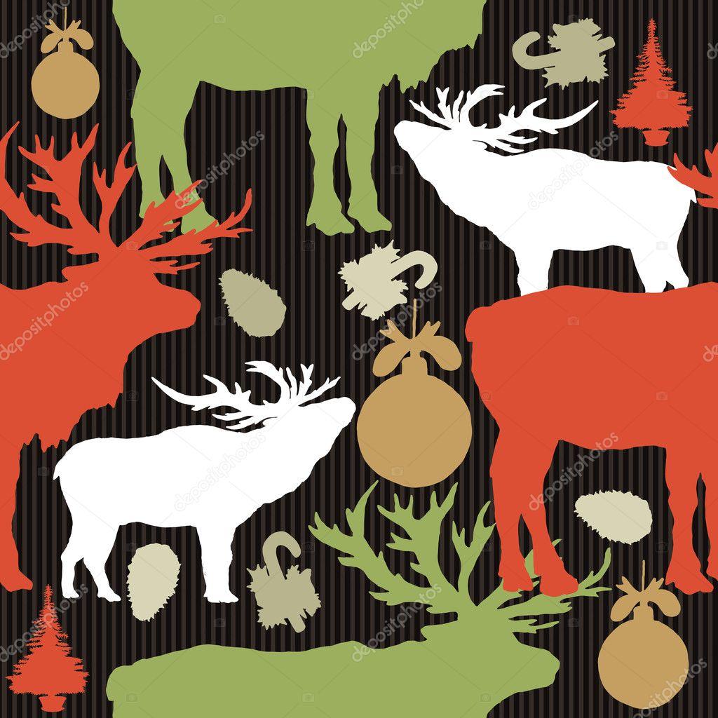 Patrones Sin Fisuras De La Navidad Siluetas De Renos De Coloreadas