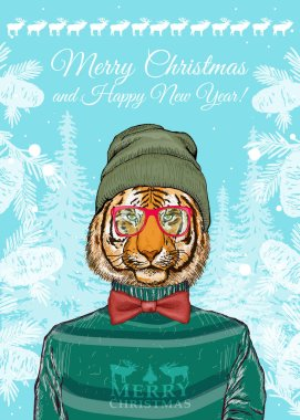 Christmas card, hipster animals, portrait of fashion tiger